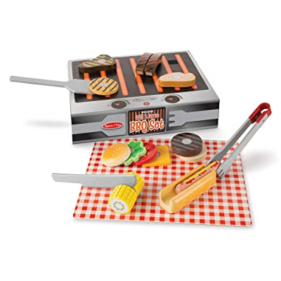 Melissa & Doug Grill and Serve BBQ Set (20 pieces) - Wooden Play Food and Accessories: Toy: Toys & Games