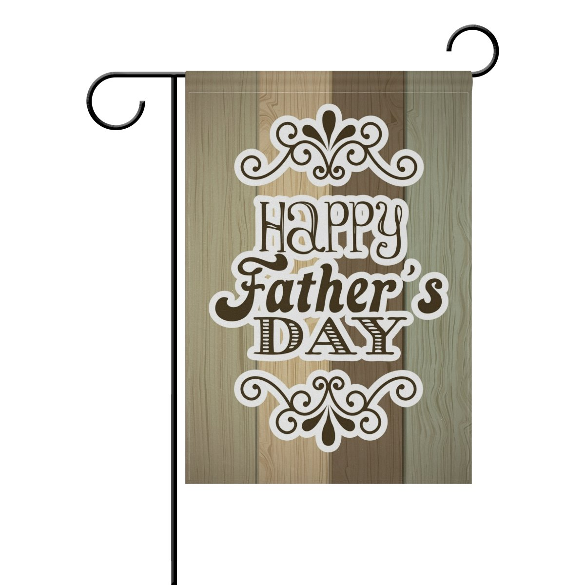 ALAZA Cooper Girl Vintage Wooden Background Happy Father's Day Garden Flag Yard Banner Polyester for Home Flower Pot Outdoor Decor 12X18 Inch