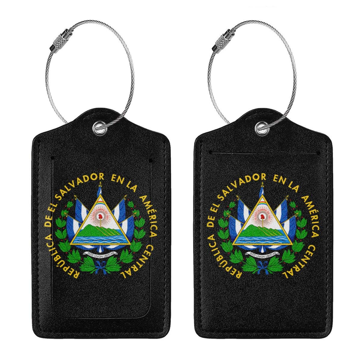 El Salvador Coat Of Arms Leather Luggage Tag Travel ID Label For Baggage Suitcase