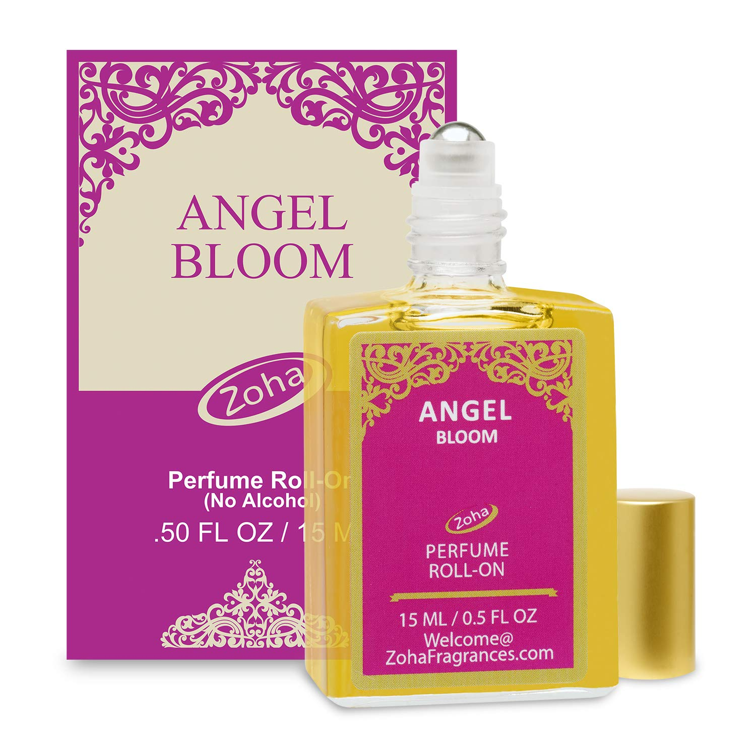 Angel Bloom Perfume Oil Roll-On (No Alcohol) - Essential Oils and Clean Beauty Hypoallergenic Vegan Perfumes for Women and Men by Zoha Fragrances, 15 ml / 0.50 fl Oz