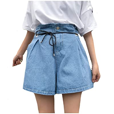 Abetteric Womens Commute Drawstring Summer Casual Fit High Waisted Wide Legs Denim Shorts