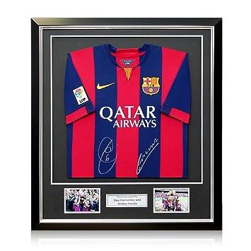 Xavi Hernández y Andrés Iniesta Firmado 2014-15 camiseta de fútbol de Barcelona. En