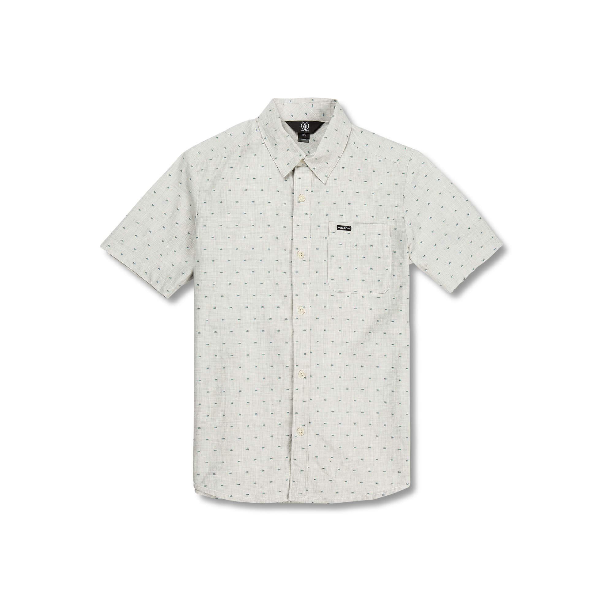 Volcom Big Boys Mark Mix Modern Fit Short Sleeve Button Up Shirt, White Flash, Medium