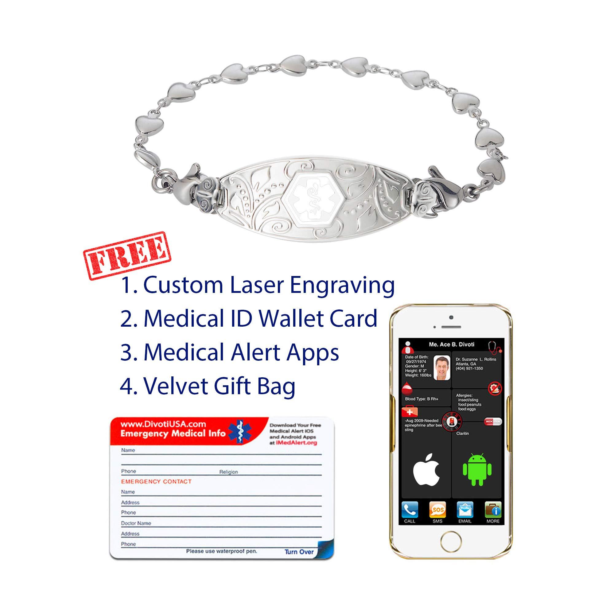 Divoti Custom Engraved Medical Alert Bracelets for Women, Stainless Steel Medical Bracelet, Medical ID Bracelet w/Free Engraving - Lovely Filigree Tag w/Heart Link -White-6.5'' by Divoti (Image #3)