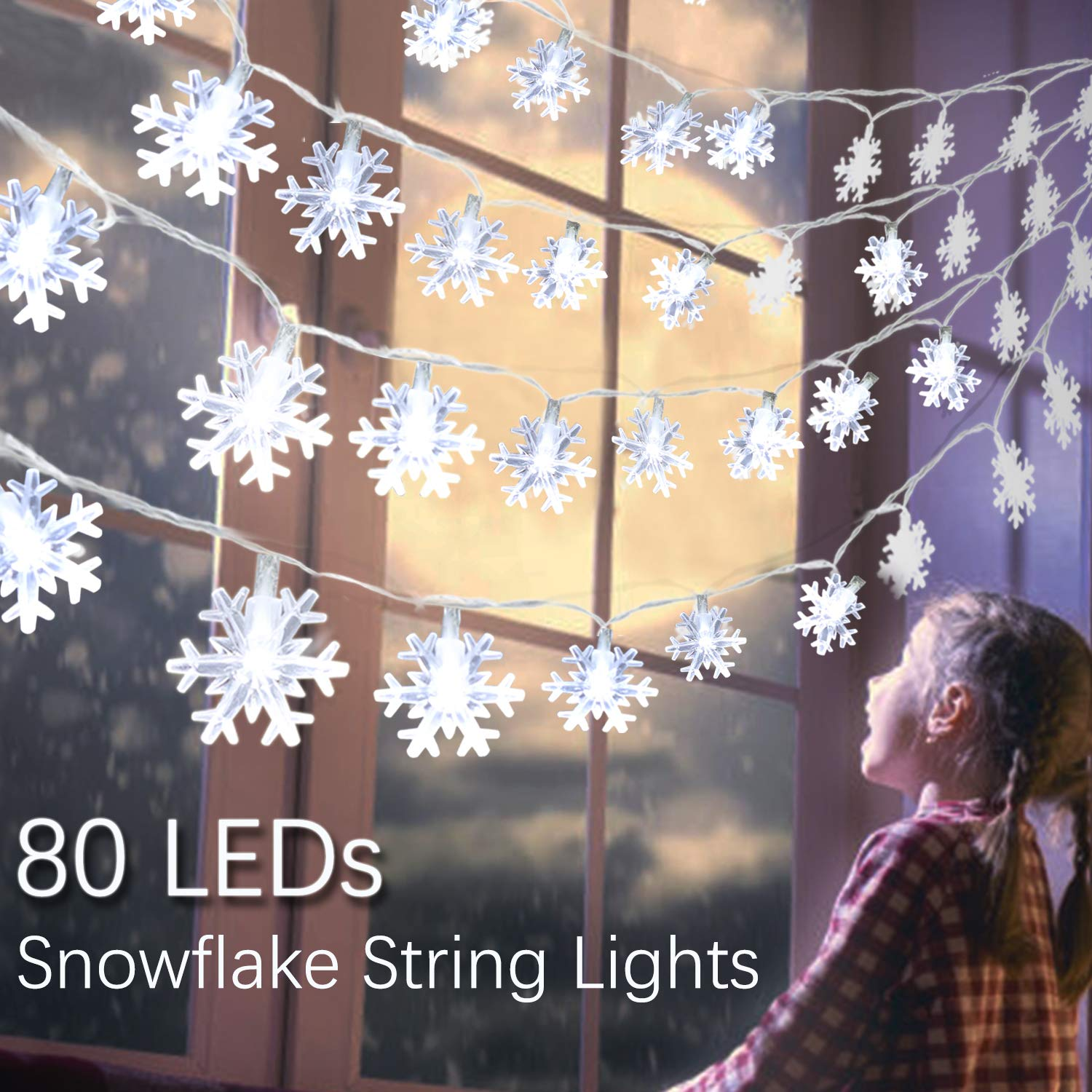 B bangcool Snowflake String Lights Christmas 32.8ft Battery Powered Waterproof Decorations Outdoor Decor for Amazon.com: