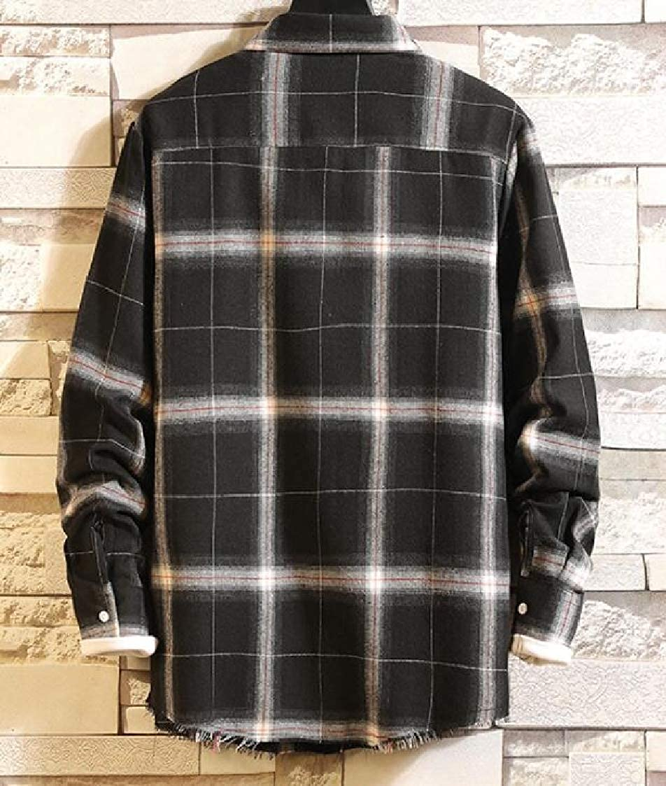 Nanquan Men Plaid Pockets Leisure Long Sleeve Boyfriend Button up Shirts