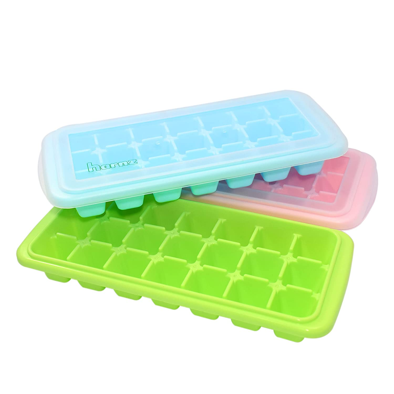 Food Grade Stackable Ice Cube Trays with Lids | BPA Free, Dish Washer Safe and Odorless | Easy Release and Durable | Pack of 3 color molds (lime, peach, azure) each with 21 Cubicles