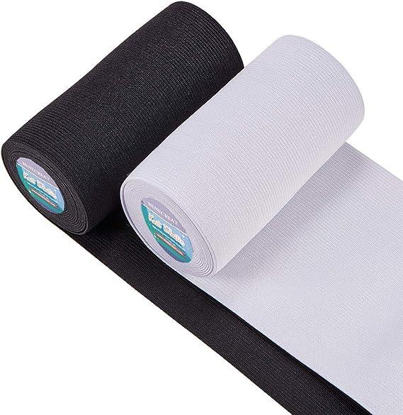 Imagen deBENECREAT 2 Rollos Banda Elástica 120mm de Ancho Nergro y Blanco Estiramiento Pesado Tejido de Alta Elasticidad para Coser (sobre 2.7m / Rollo)