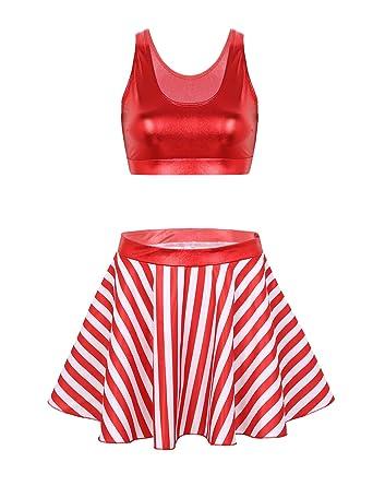 TiaoBug Vestido Navidad Mujer Rojo Ropa Conjunto Lujoso de Fiesta ...