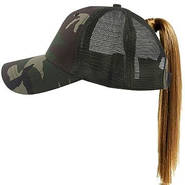 Muryobao Women's Ponytail Baseball Cap Messy High Bun Adjustable Plain Trucker Dad Hat