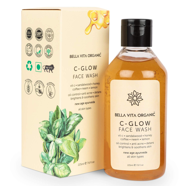 Bella Vita Organic Vitamin C Face Wash for Oil Control, Hydration, Brightening, Pore Cleansing, De-Tan, Pigmentation, Blemishes, Acne & Sensitive Skin, Sulfate & Paraben Free, 225 ml