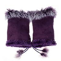 Vovotrade® Winter Must Gloves!!!Women Warm Winter Faux Fur Wrist Fingerless Gloves Mittens (Purple 2)