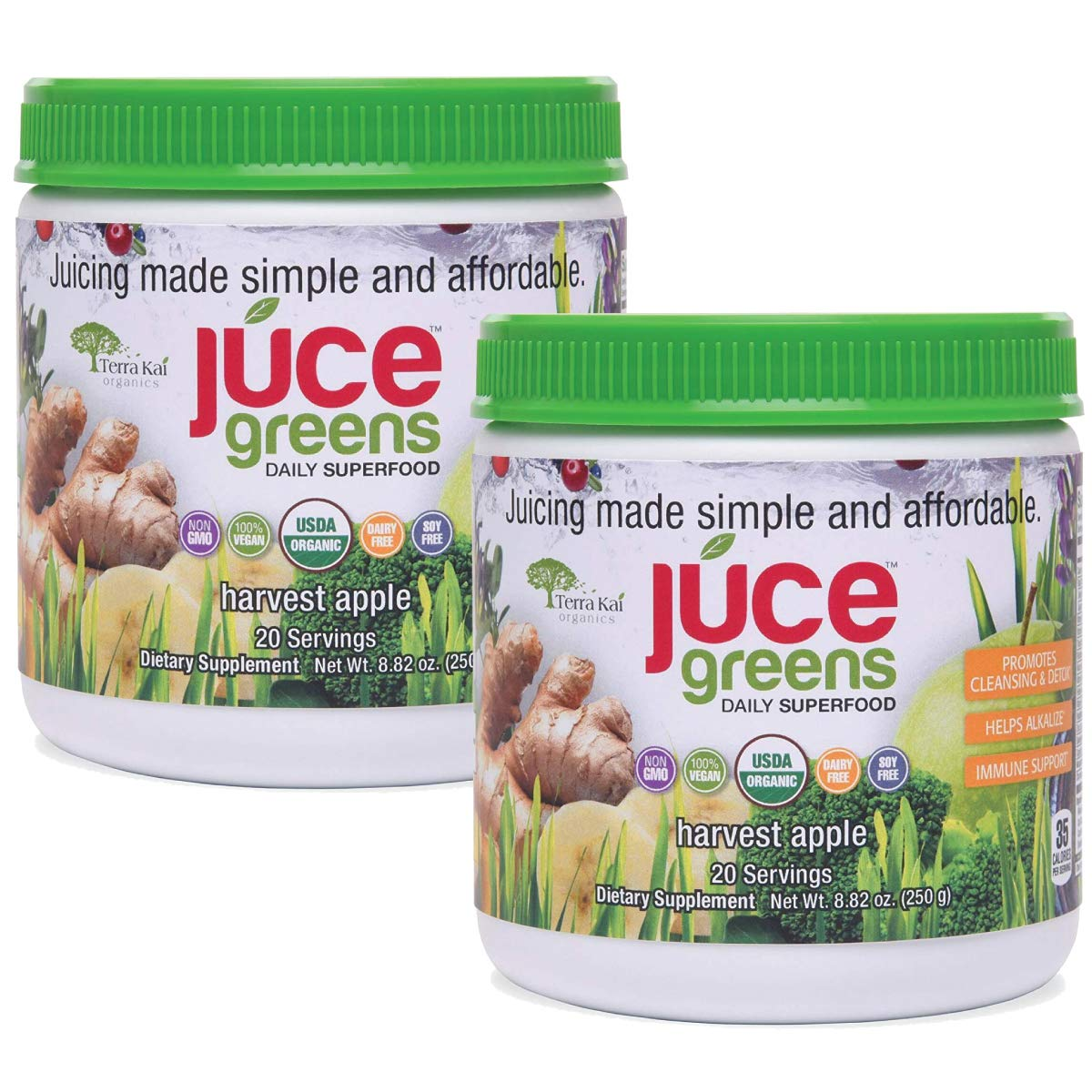 JUCE Greens Superfood Two Packs | Natural Energy & Detox Blends | Certified USDA Organic 20 Servings Per Container - 2 Pack (Harvest Apple Two Pack)