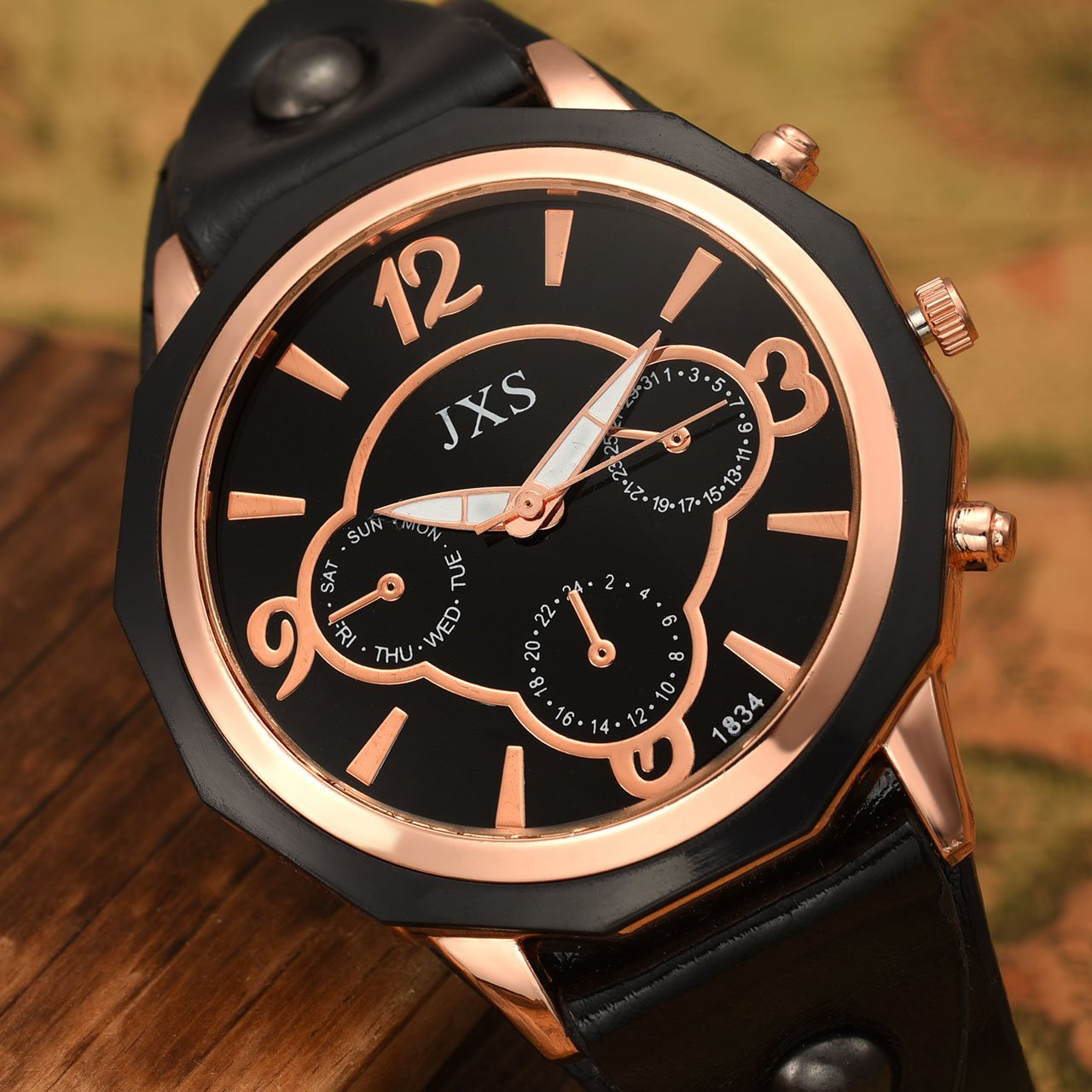 Top Plaza Womens Mens Fashion Rose Gold Tone Leather Analog Quartz Wrist Watch Arabic Numerals Big Face Casual Sport Watch - Black by Top Plaza (Image #5)