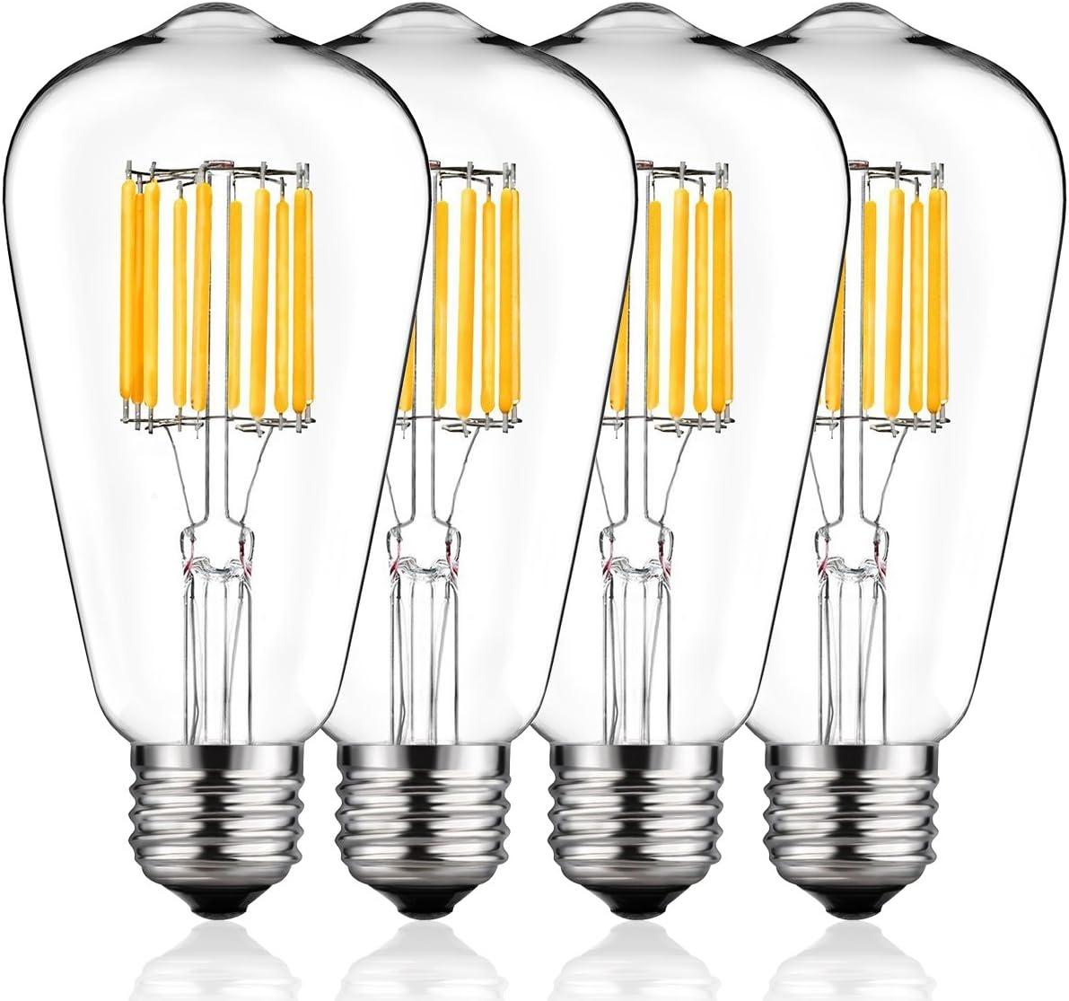 Vintage LED Edison Bulb 100W Equivalent, DORESshop No Dimmable 10W ST64(ST21) Antique LED Filament Light Bulb, Warm White 2700K, E26 Base Squirrel-Cage Antique Lamp for Home Decor, Reading Room, 4Pack