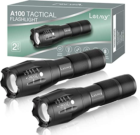 2 Pack Tactical Flashlight Torch Military Grade 5 Mode T6 3000 Lumens Waterproof
