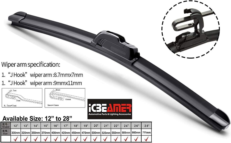 304mm ICBEAMER 12 All Season U or J Hook BRACKETLESS Car Vehicle Windshield Wiper Blades