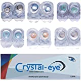 Crystal Eye Monthly Contact Lens with Multi Plus Solution and Storage Box (Honey, Hazel, Turquoise, Brown, Sky and Dark Blue)