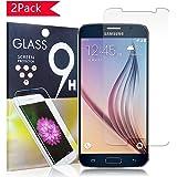 Hoperain Galaxy S6 Screen Protector Bubble-Free, HD-Clear, Anti-Scratch, Anti-Glare, Anti-Fingerprint, Premium Tempered Glass, for Samsung Galaxy S6 - Ultra Clear - 2 Pack