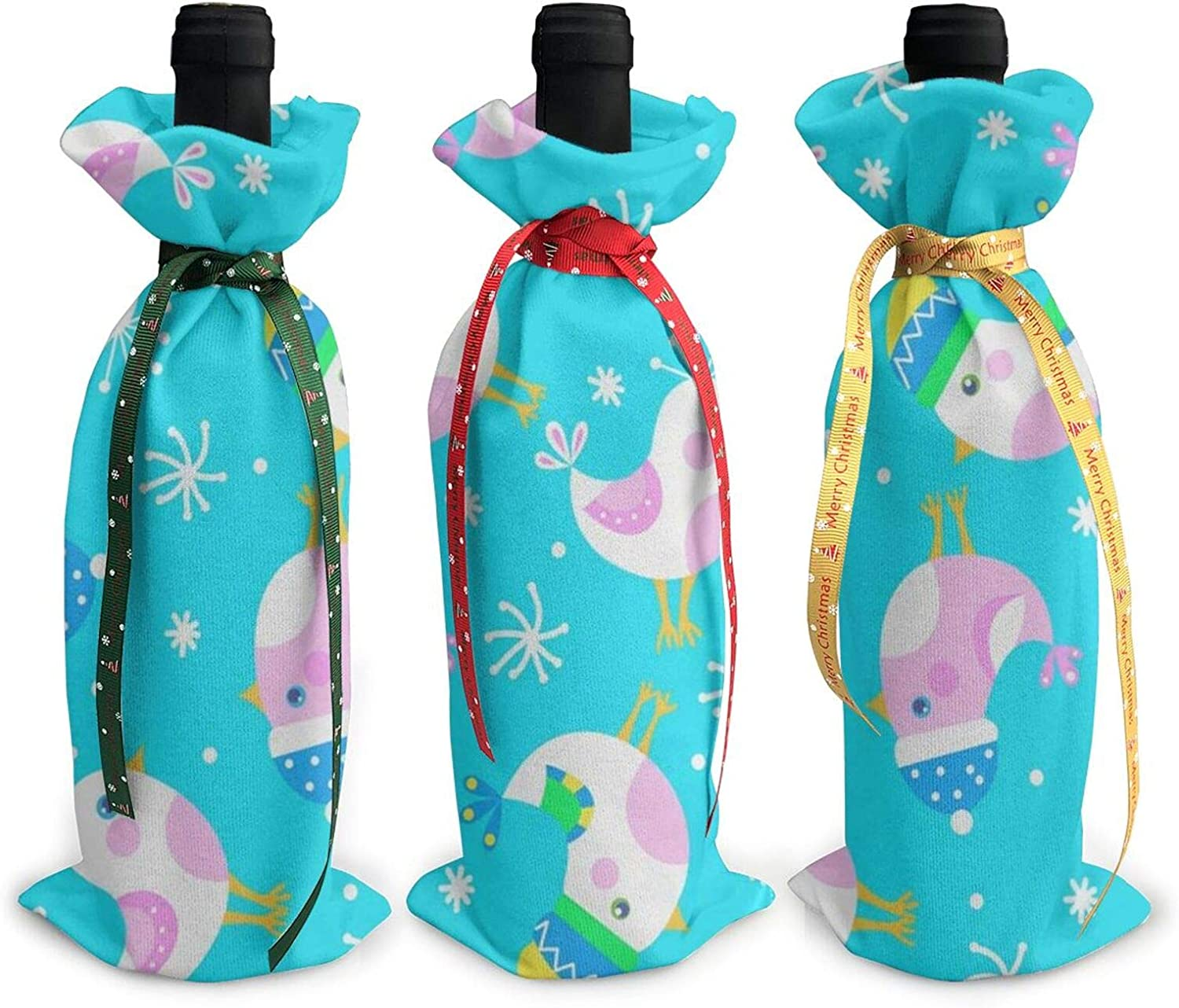 Wine Bag Decor Cute Birds Fall In Love Teal Blue Wine Bottle Cover, Wine Party Supplies Decorations, Unique Decorative Wine Bottles Sleeve, Kitchen Decor, Wine Gifts For Women Set 3