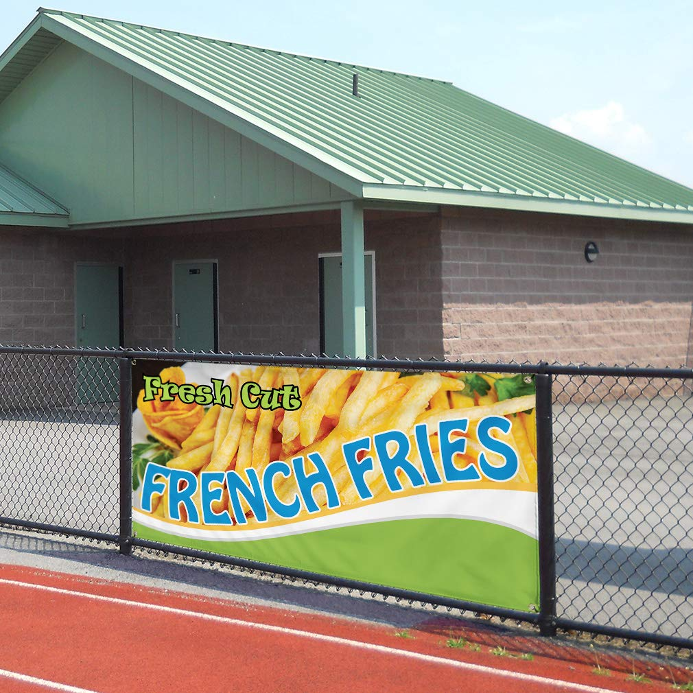 6 Grommets Vinyl Banner Sign Fresh Cut French Fries #1 Style D Outdoor Marketing Advertising Yellow Set of 2 Multiple Sizes Available 32inx80in