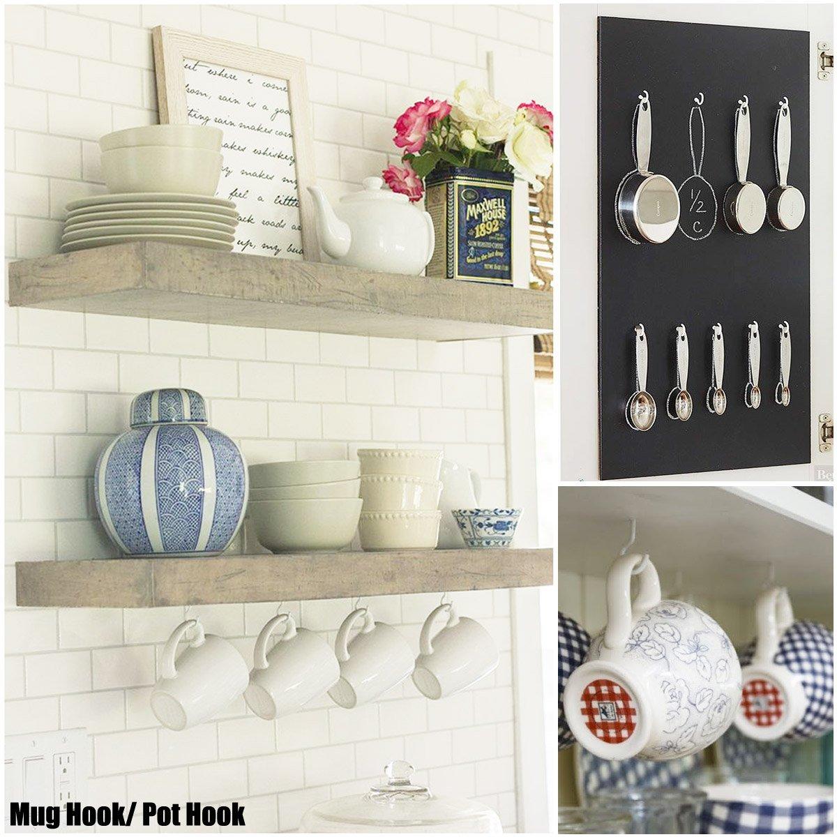 color blanco 20 unidades Ganchos de techo para tazas ganchos de pared atornillables para ropa cocina 2.9 pulgadas uso interior y exterior con revestimiento de vinilo