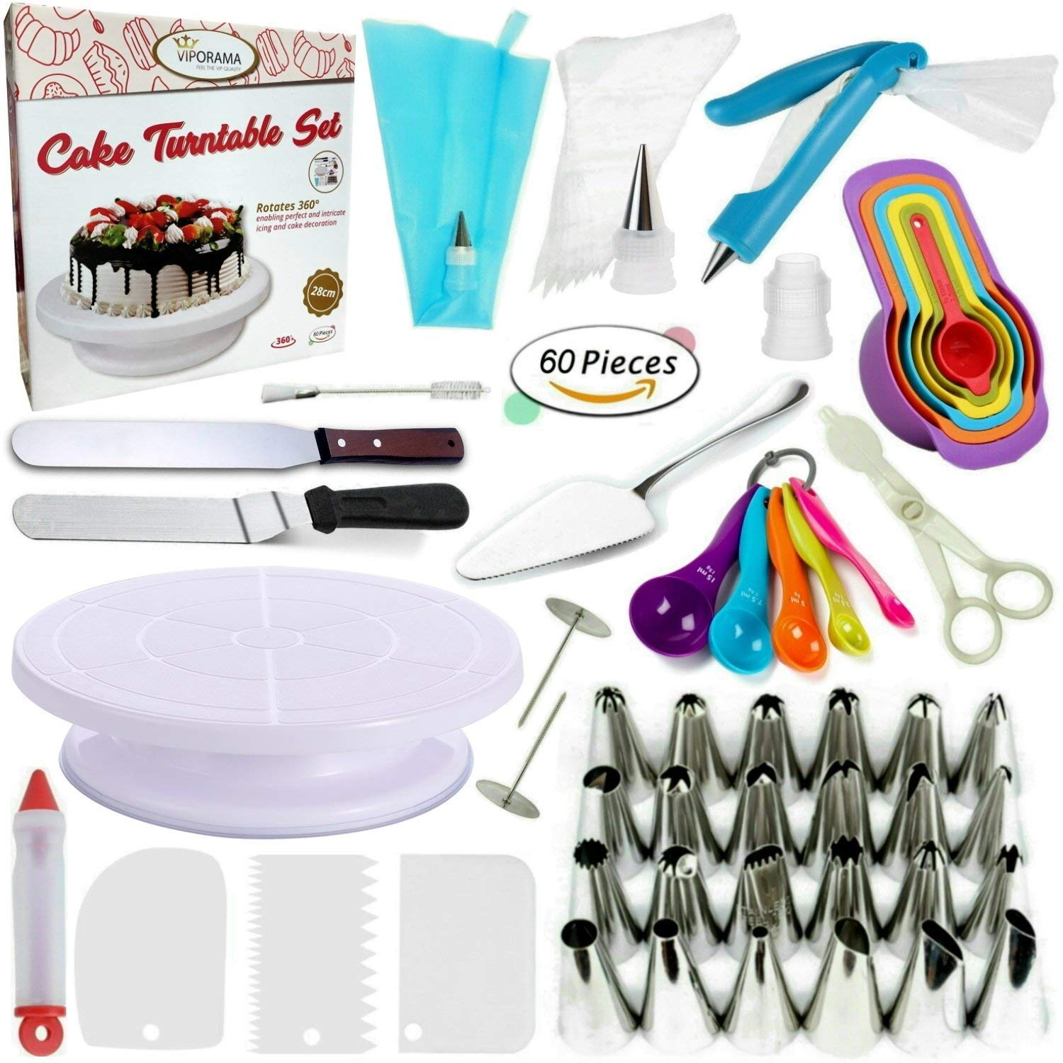 Whryspa All-in-One Cake Decorating Kit Supplies with Revolving Cake Turntable, 24 Cake Decorating Tips, for Cake Decoration Baking Tools by Whryspa (Image #1)
