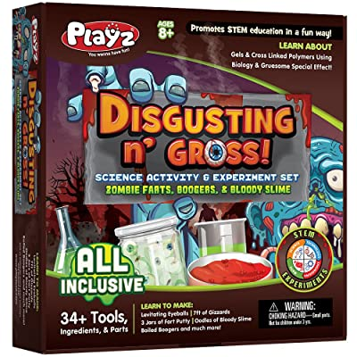 Playz Disgusting n\' Gross Zombie Poop, Boogers, & Bloody Slime Science Activity & Experiment Set - 34+ Tools to Make Levitating Eyeballs, Gizzards, Poop Putty & Boiled Boogers for Boys & Girls Age 8+: Toys & Games [5Bkhe0504779]