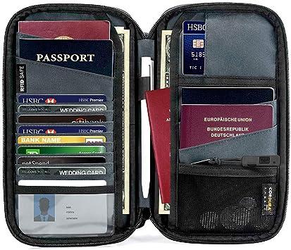 RFID Blocking Document Organizer Case for Passports//Cash//Cards Convenient Neck Strap MuchL Travel Wallet Passport Holder