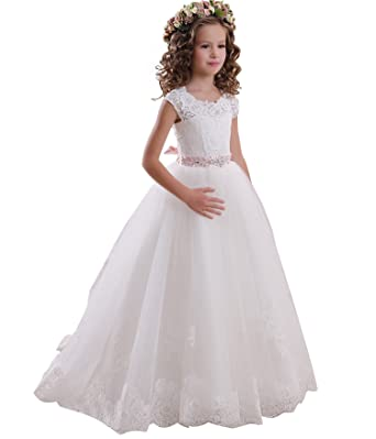 4e6261da21 Amazon.com  Flower Girls Dress Sleeveless Lace Tulle Beads First Communion  Pageant Ball Gown  Clothing