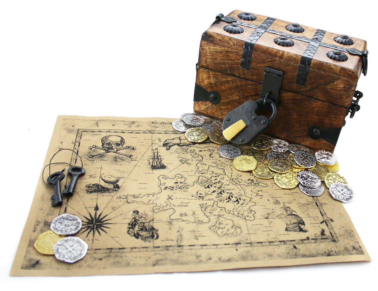 """Well Pack Box Wood Pirate Treasure Chest Strongbox 6.5'' x 4 ''x 4"""" with 32 Metal Antique Style Coins Authentic Large Brown Paper Map and Strong Iron Lock"""