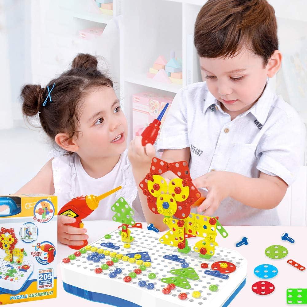 205 Pcs 3D Puzzle P/ädagogisches Spielzeuge mit Elektronischem Bohrer Baustein Spielzeug Geschenkidee f/ür Kinder Junge M/ädchen ab 3 4 5 Jahre Alt CENOVE Mosaik Steckspiel Schraube Spielzeug