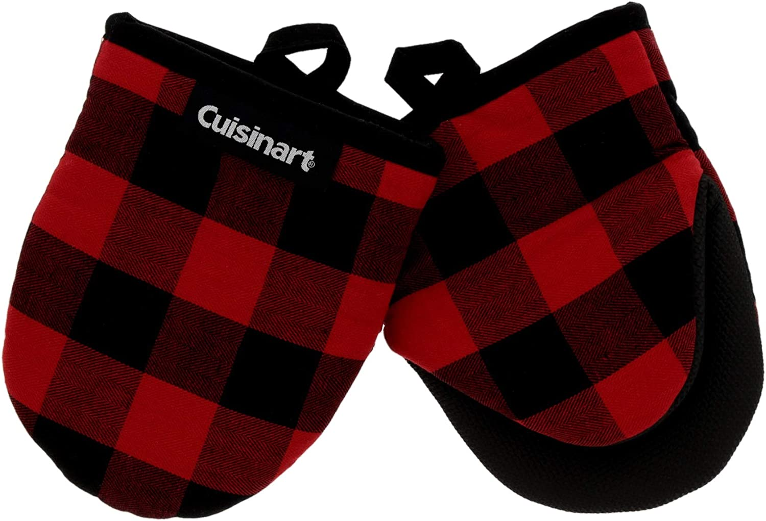 Cuisinart Neoprene Mini Oven Mitts, 2pk - Heat Resistant Oven Gloves Protect Hands and Surfaces with Non-Slip Grip and Hanging Loop-Ideal Set for Handling Hot Cookware - Buffalo Check, Red, black