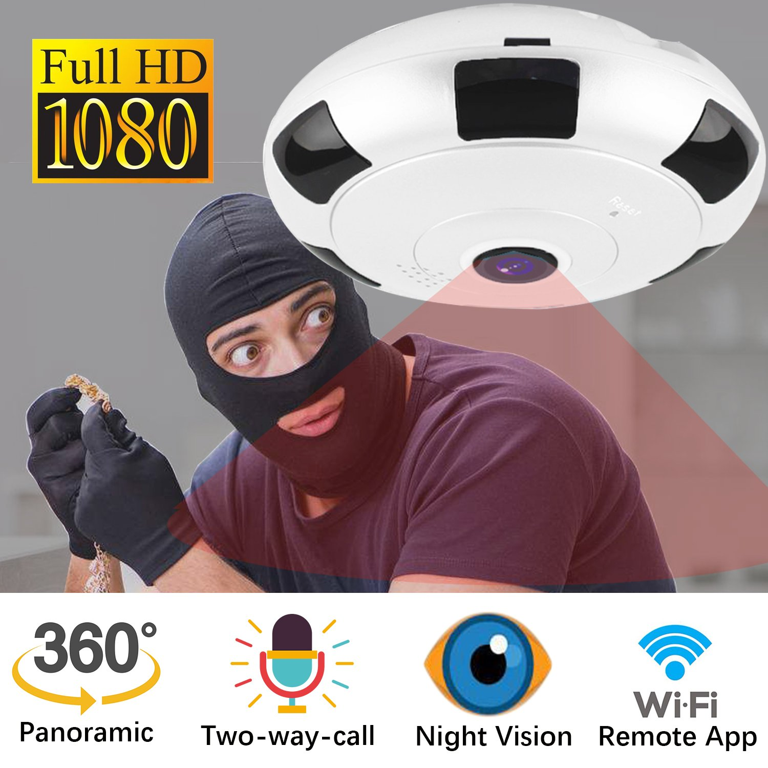 IP Camera 360 WIFI 1080P Outdoor Indoor Dome Camera Panoramic with Audio Motion Detection Alarm Monitor at Night for Home Office School Security Support TF Card Android IOS,Home Electronic by iCooLive