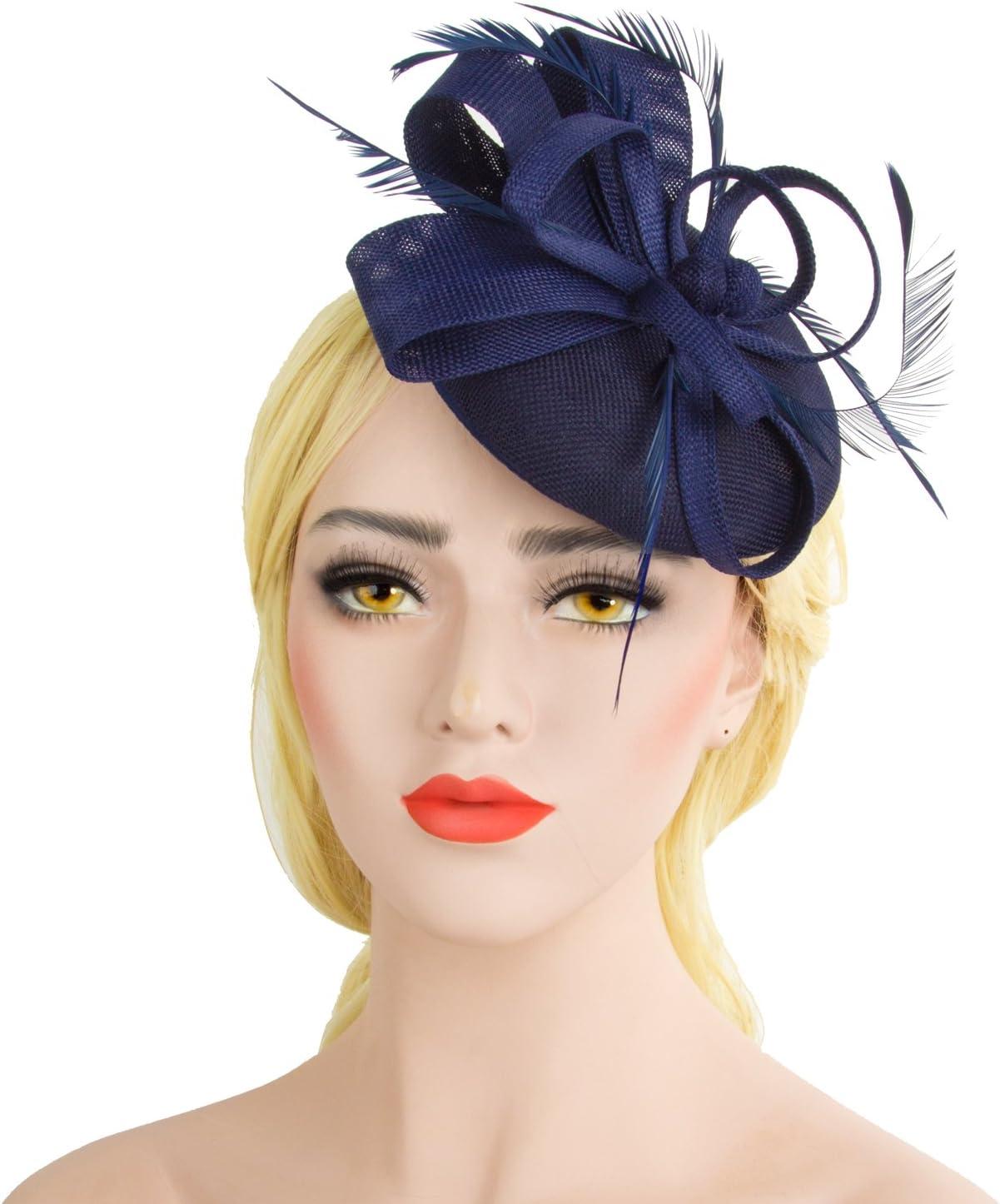 Pretty Bleu Marine Clip Chapeau Bibi Mariages Femmes jour de course Royal Ascot