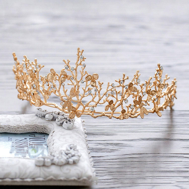 Crown Gold Leaf Tairas Dragonfly Bridal Hair Accessories Princess Bridal Headdress Women Hair Ornaments,Gold-color,White