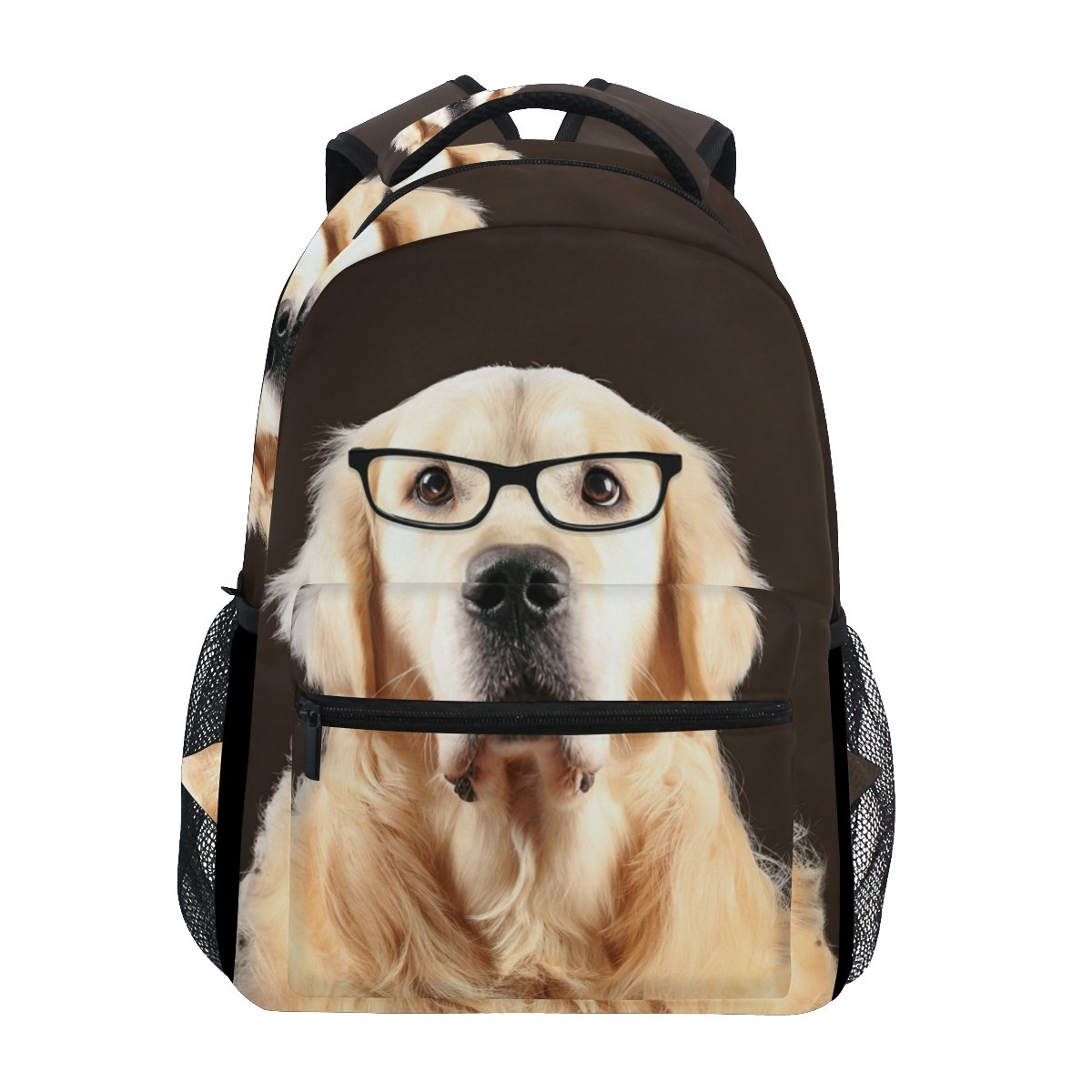 Golden Retriever Dog In Glasses School Backpack for Boys Girls Bookbag Travel Bag