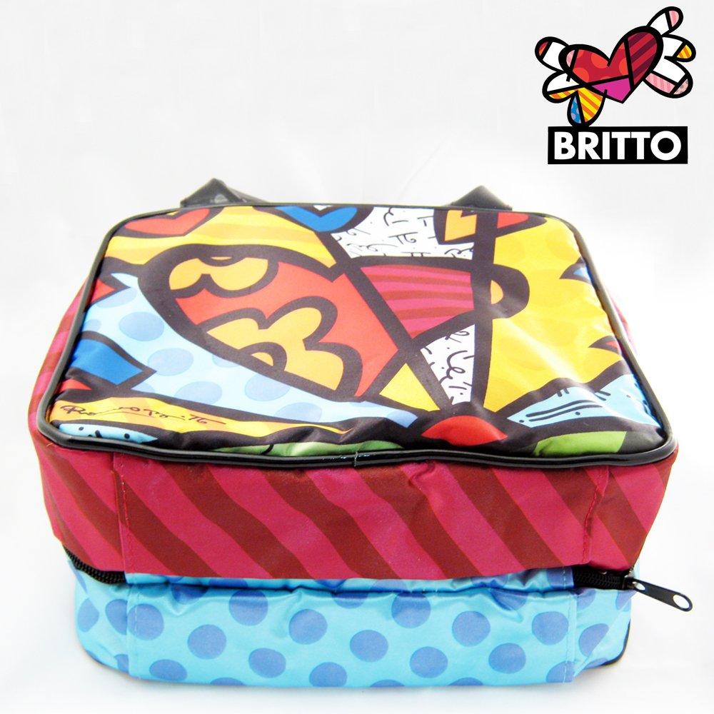 acfb69fcdad7 Romero Britto Satin HEART Cosmetic TOTE Bag Travel