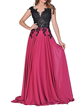 vimans Womens Lace Beading Long Prom Dresses 2018 Formal Gown Size 2 Fuchsia