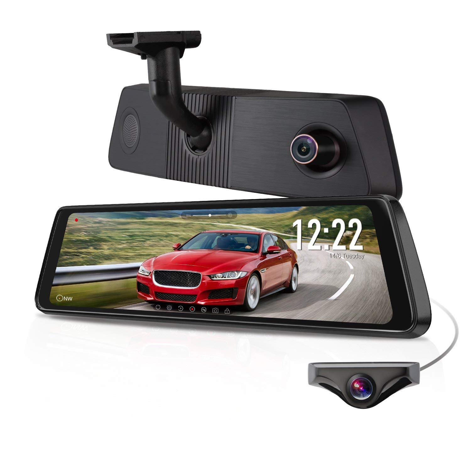 X1PRO Rear View Mirror Dash Cam 9.88'' Full Touch Screen Dual Lens with 1296P Front and 720P Super Night Vision Stream Media Backup Camera kit, WDR,LDWS, GPS Tracking,Auto-Brightness Adjusting by AUTO-VOX