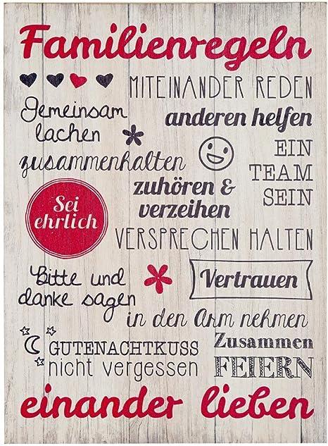 Bild Weisheit Familienregeln Creme Rotschwarz Höhe 50 Cm Wandobjekt