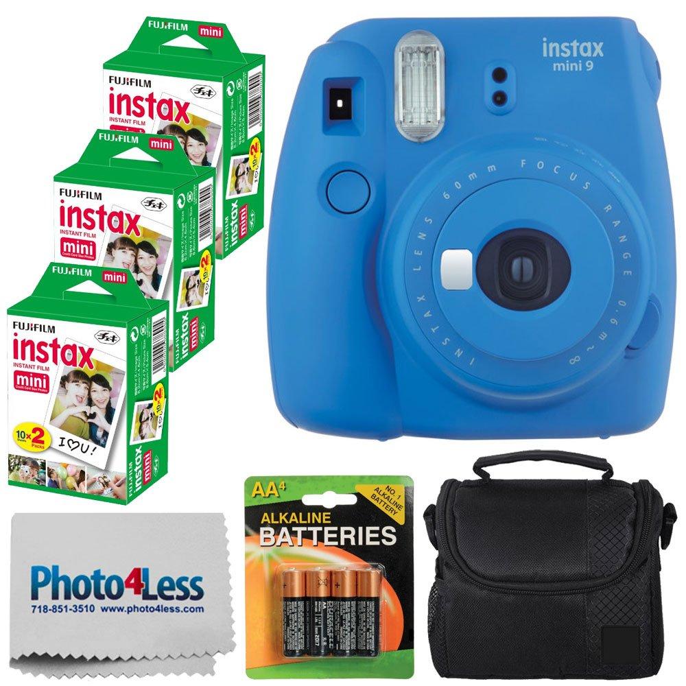 Fujifilm instax mini 9 Instant Film Camera (Cobalt Blue) + Fujifilm Instax Mini Twin Pack Instant Film (60 Exposures) + Compact Camera Case + 4 AA Batteries + Cleaning Cloth - Full Accessory Bundle