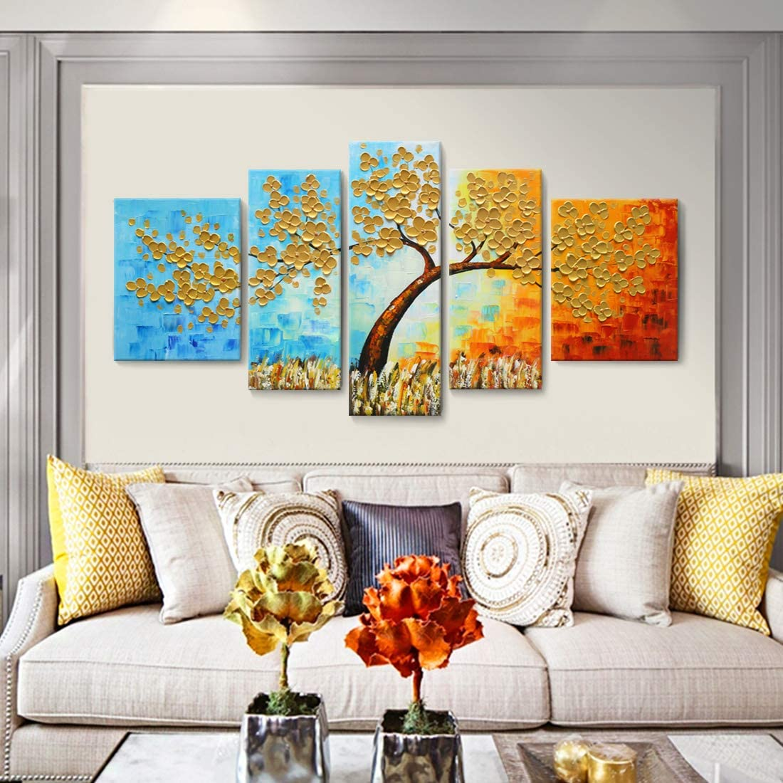 Extra Large Wall Art 100 Hand-Painted Oil Painting on Canvas 3D Colorful Tree Artwork Palette Knife Impasto Texture 5 Pieces Abstract Golden Paintings for Living Room Bedroom Office D cor