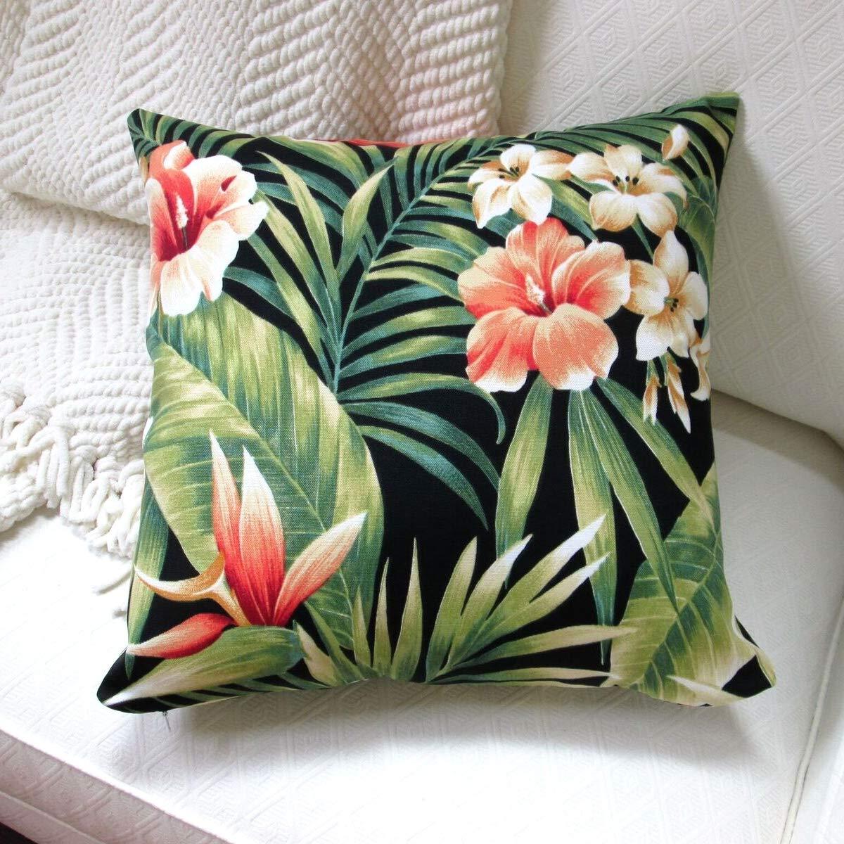 Artisan Pillows 18 Outdoor Tropical Island Hawaiian Palm Throw Pillow Bird of Paradise and Hibiscus Set of 2