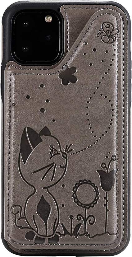 Cfrau Wallet Case with Black Stylus for iPhone 6S,Stylish 3D Cat Bee Flower Print PU Leather Soft Bumper Reinforced Drop Resistant Shockproof Stand Card Holder Case for iPhone 6//6S,Blue
