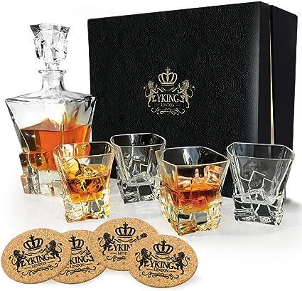 Decanter Set 9 piezas en caja de regalo premium de YKing London - Ron Whisky Bourbon Scotch Tequila Vodka Set Decantador - Jarra de whisky y set de ...
