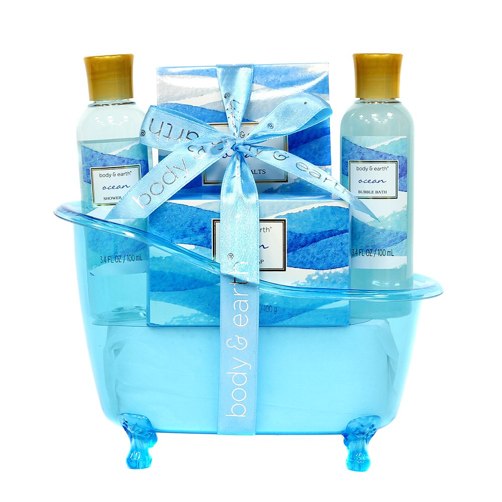 Spa Gift Baskets for Women, Body & Earth Bath Gift Set with Tub, Gifts for Her, Ocean 5pc, Best Gift Idea for Women by BODY & EARTH