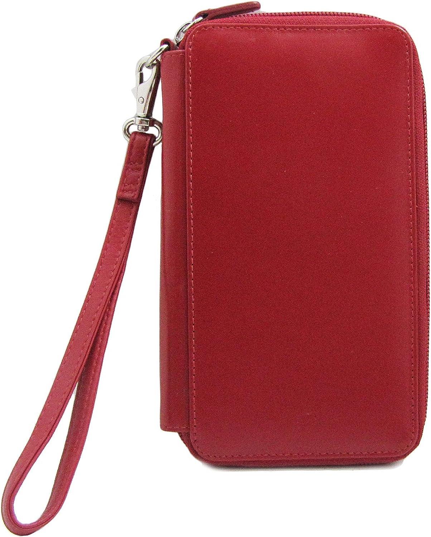 ili Leather Zip Around Checkbook Wristlet Wallet with RFID Blocking