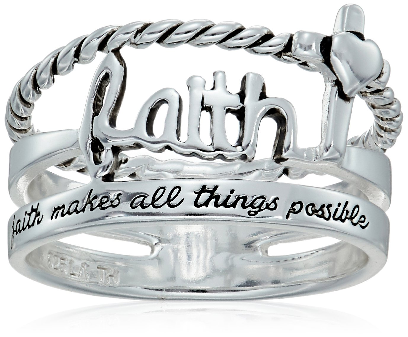 Sterling Silver ''Faith Makes All Things Possible'' Ring, Size 8