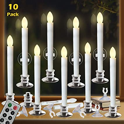 Christmas Window Candles.Window Candles With Remote Timers Battery Operated Flickering Flameless Led Electric Candle Lights With 10pcs Silver Base And 10pcs Suction Cups Taper